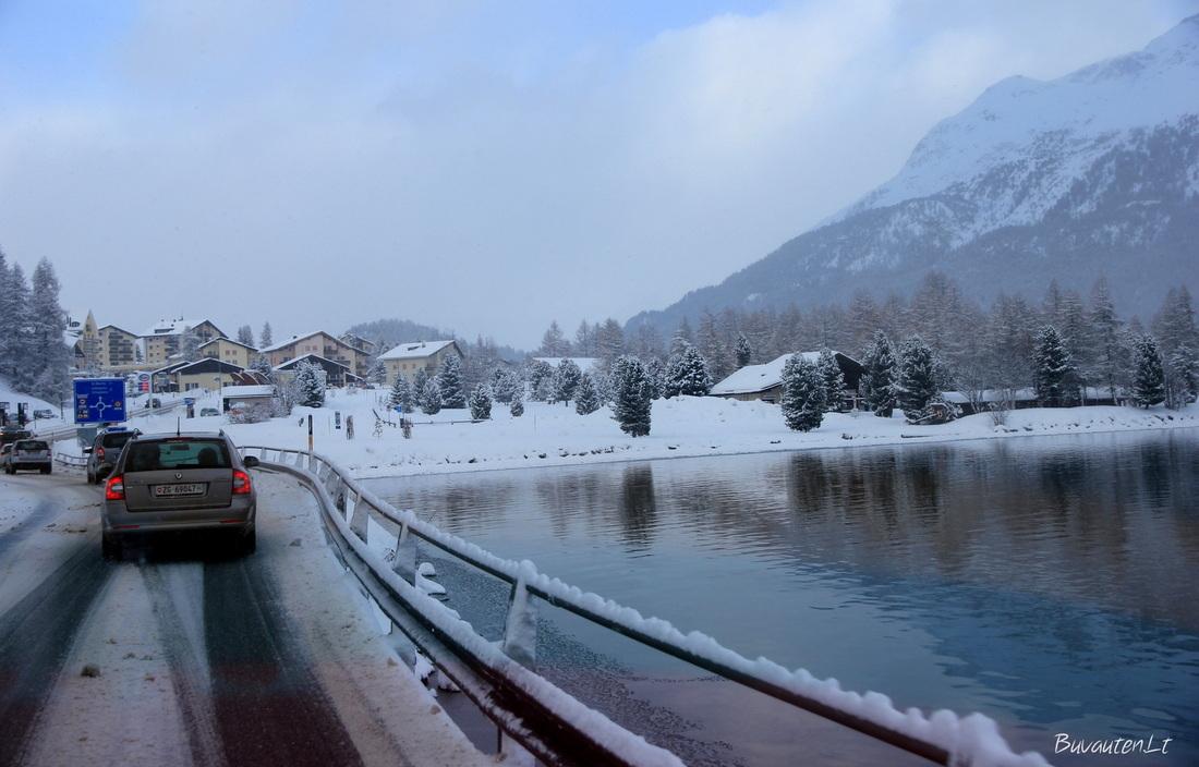 Ežeras šalia St. Moritz kurorto