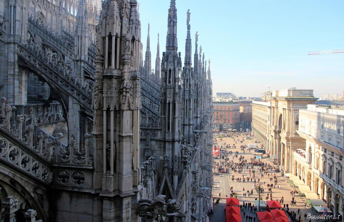 Vaizdas į aikštę nuo katedros stogo