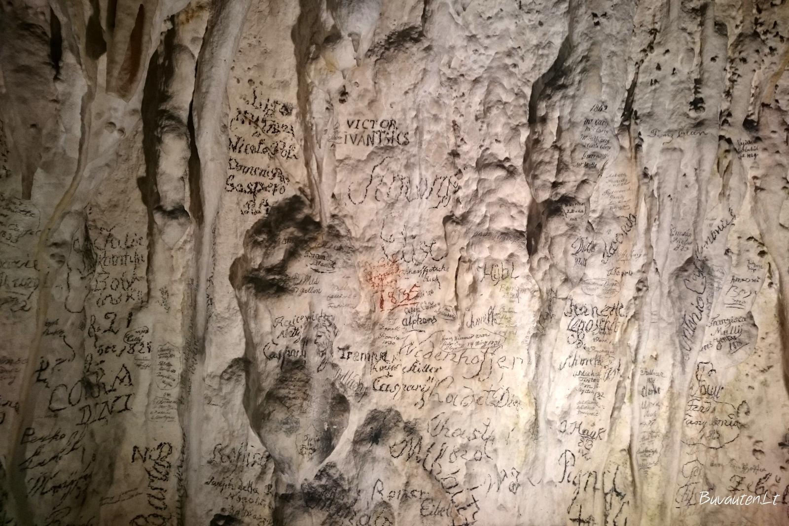Daugiau kaip 100 metų senumo grafitti ant Vivariumo sienų