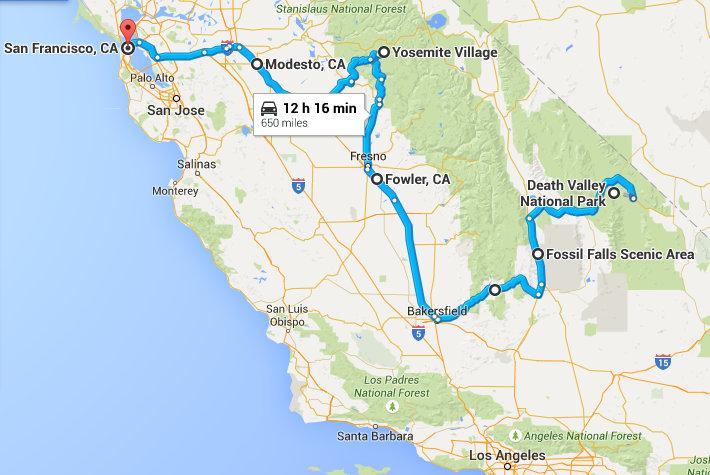 Maršrutas nuo Death Valley iki San Francisko