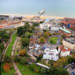 Ruduo Anglijos pajūryje ir Bournemouth iš aukštybių