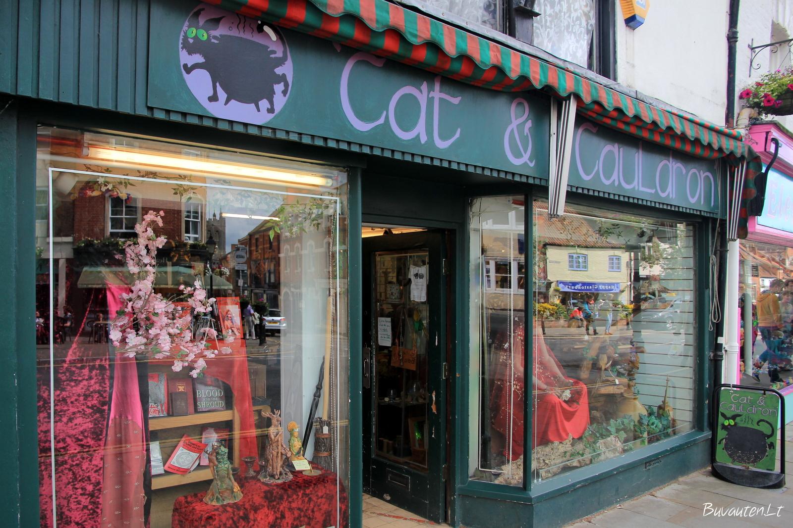 Viena iš daugelio unikalių parduotuvių Glastonberyje
