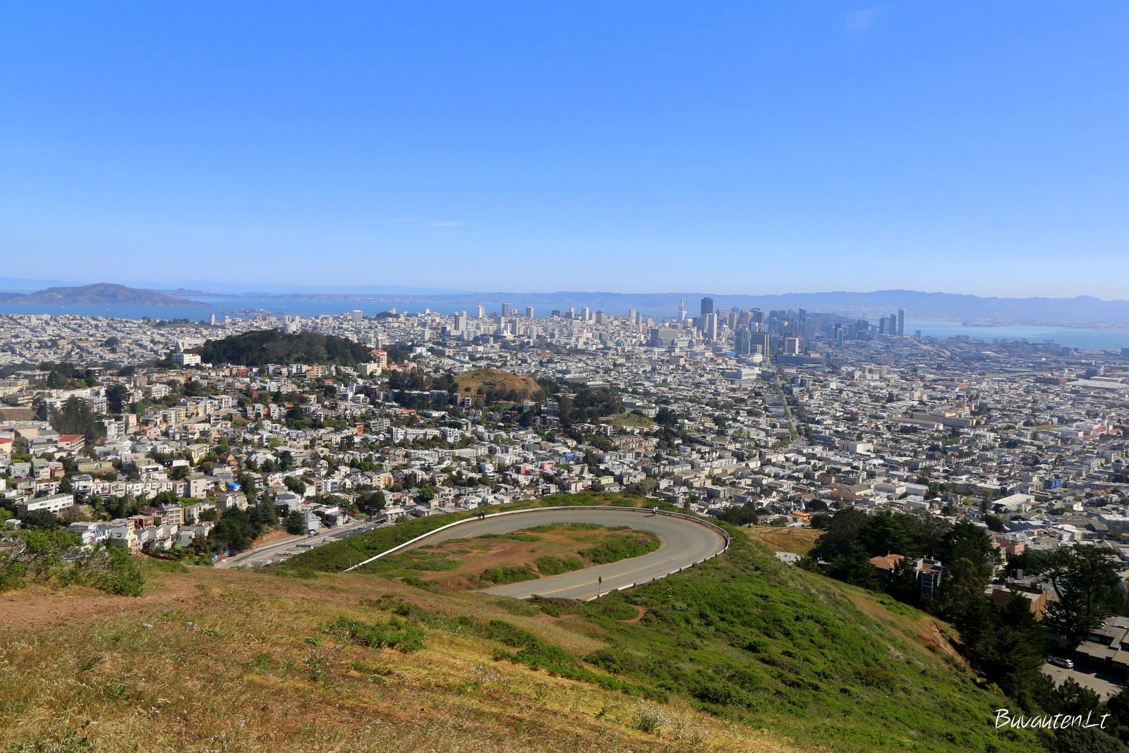 San Francisko panorama nuo Twin Peaks kalno