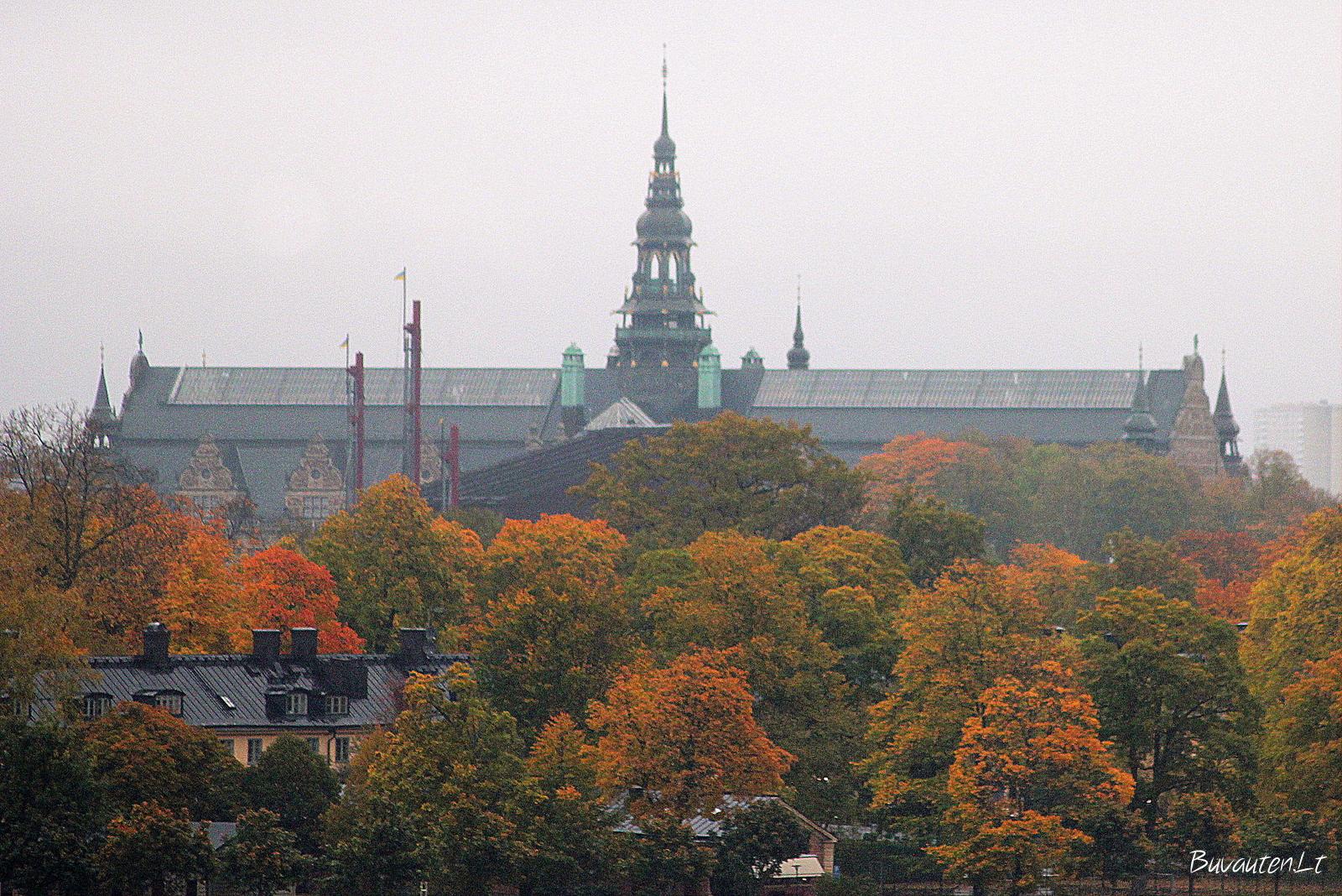 Tarp medžių – Nordiska muziejaus pastatas ir Vasa laivo-muziejaus stiebai