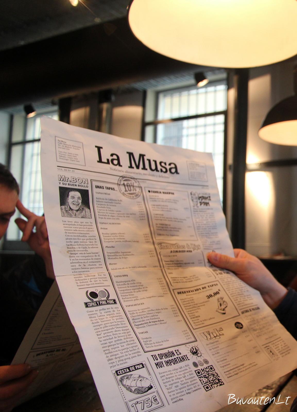 La Musa Latina meniu