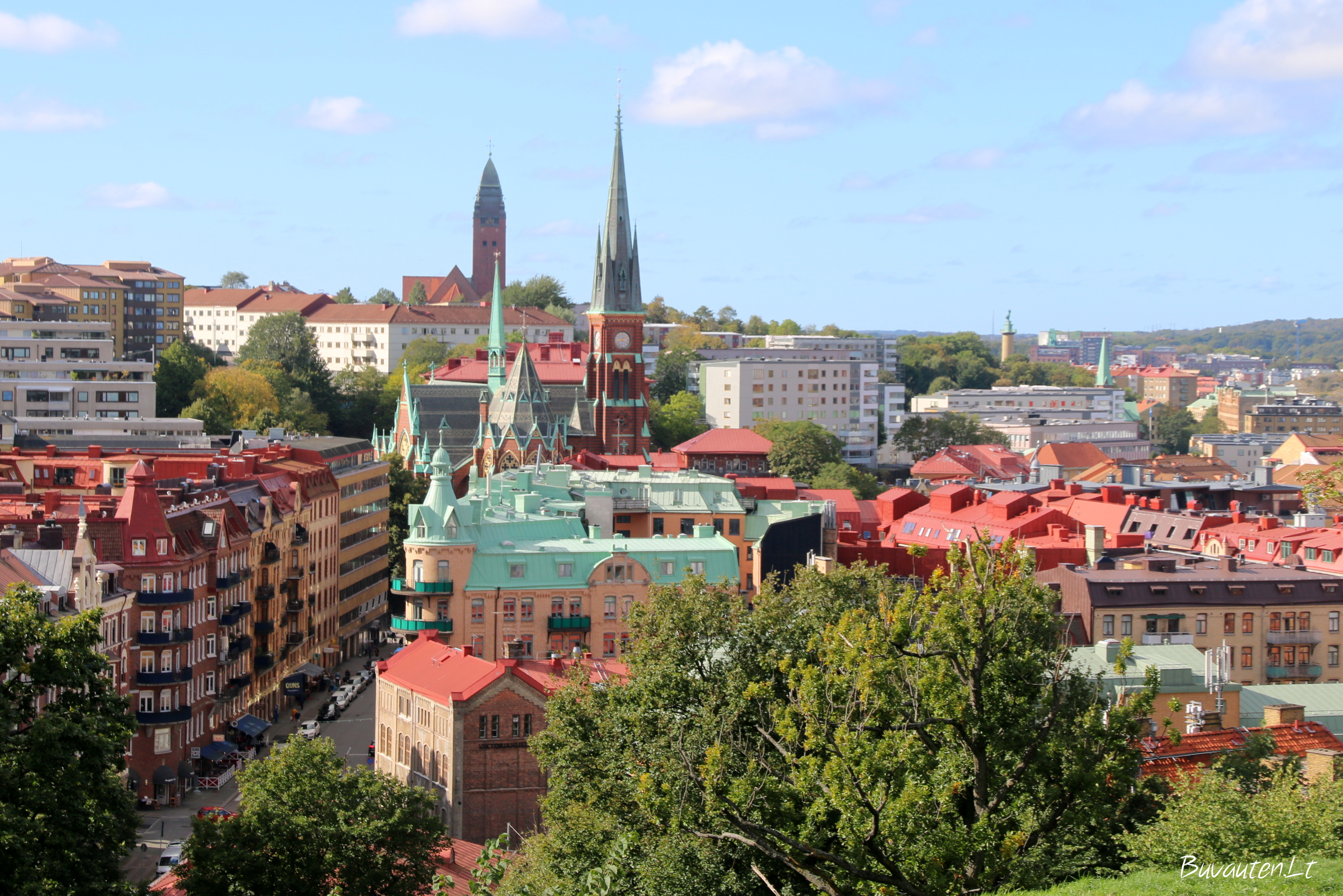 Geteborgo stogai nuo Skansen Kronan