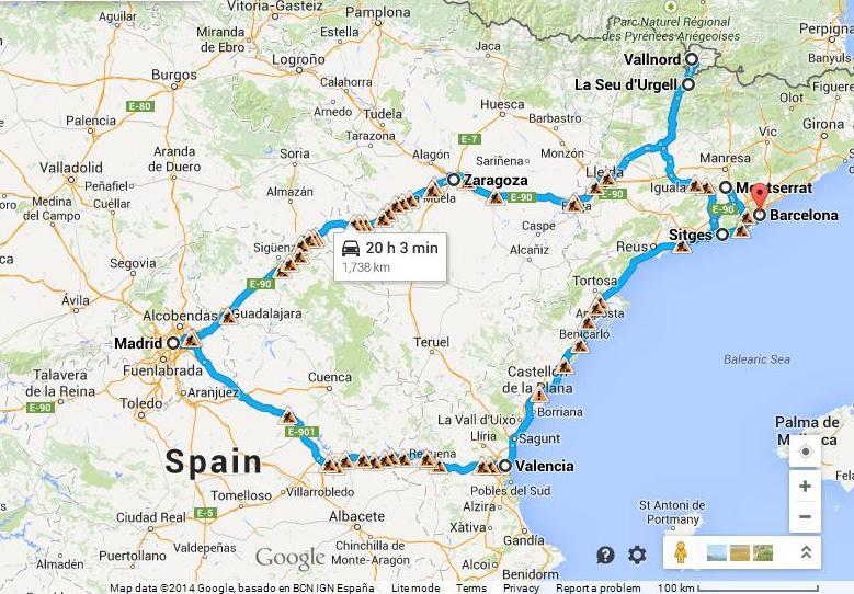 Maršrutas Ispanijoje ir Andoroje automobiliu