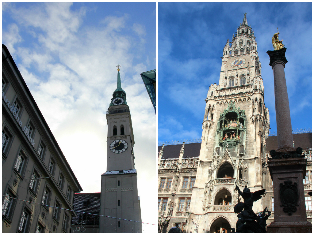 Du bokštai Marienplatz, į kuriuos galima įlipti: Šv. Petro bažnyčios varpinė (kariėje) ir naujosios rotušės bokštas