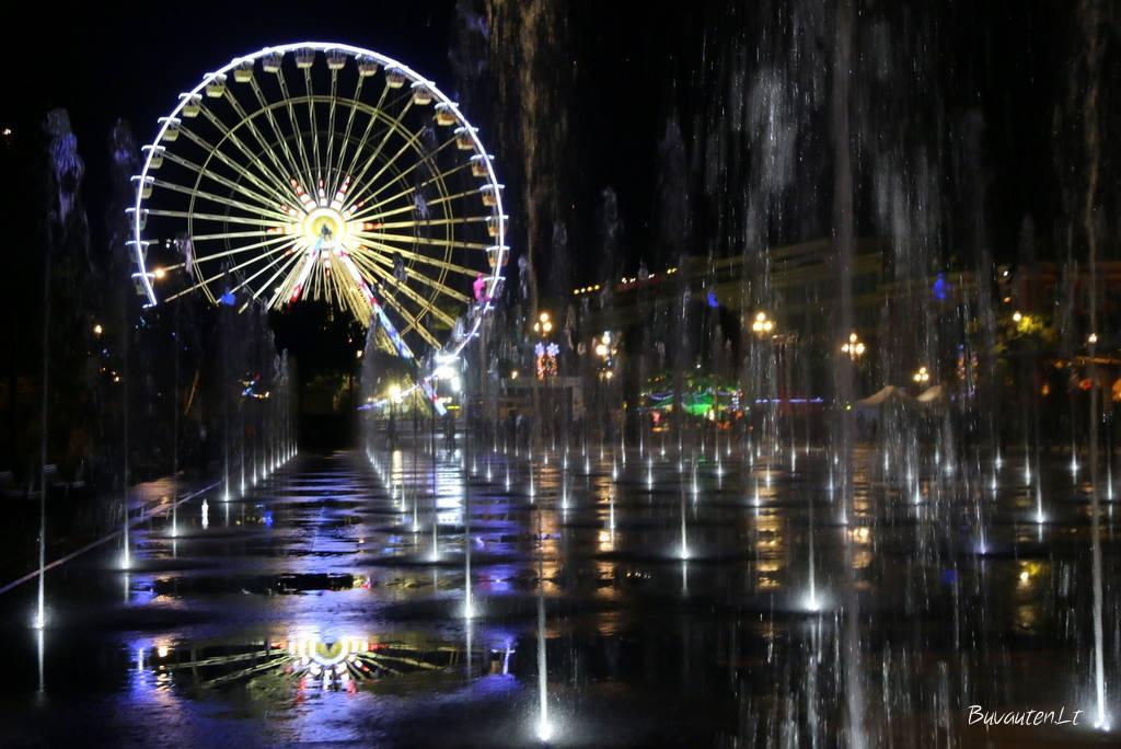 Miroir d'eau fontanas naktį