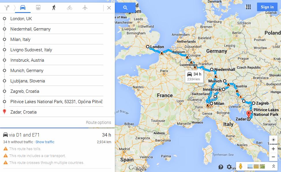 Automobiliu į Kroatiją maršrutas