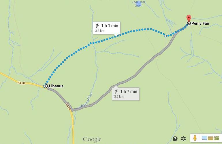 Maršrutas į Pen-y-fan kalną