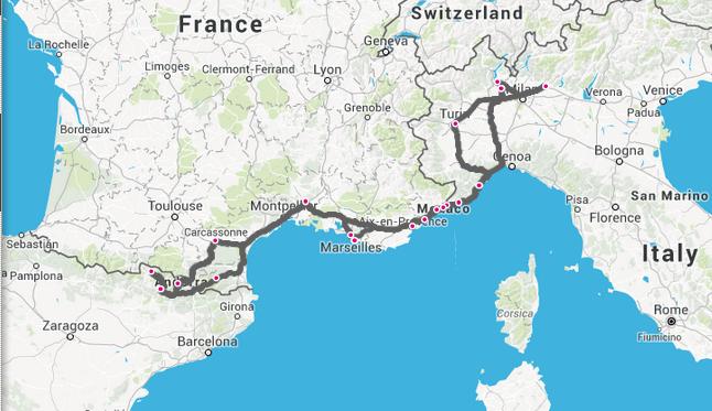 Maršrutas per Italiją, Prancūziją, Andorą ir šiek tiek Ispanijos